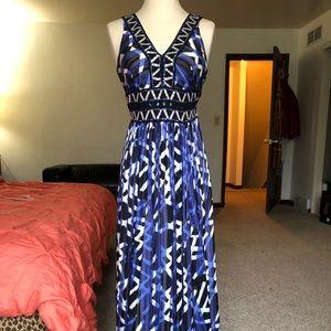 BCBG prom dress blue gorgeous print